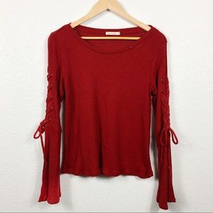 Red Wide Long Sleeve Shirt